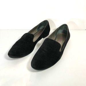 Tesori Black Suede Smoking Flats Loafer